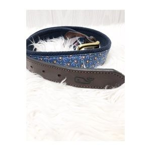 Vineyard Vine Football Leather Canvas Belt